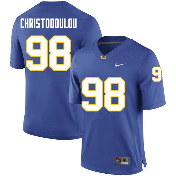 Men #98 Kirk Christodoulou Pittsburgh Panthers College Football Jerseys Sale-Royal