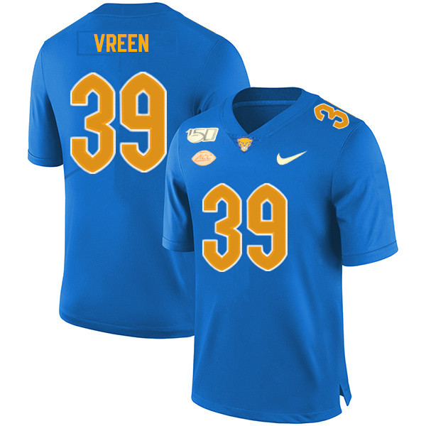 2019 Men #39 Kyle Vreen Pitt Panthers College Football Jerseys Sale-Royal