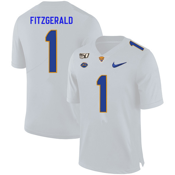 2019 Men #1 Larry Fitzgerald Pitt Panthers College Football Jerseys Sale-White