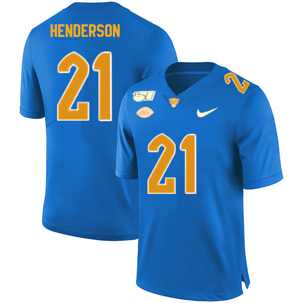 2019 Men #21 Malik Henderson Pitt Panthers College Football Jerseys Sale-Royal