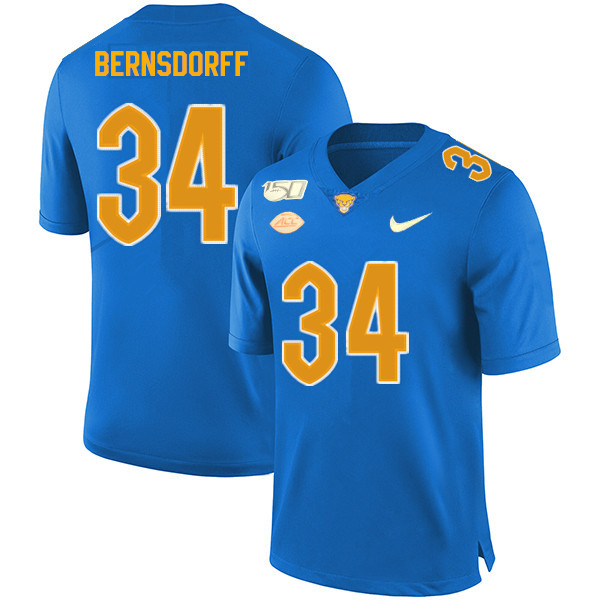2019 Men #34 Mark Bernsdorff Pitt Panthers College Football Jerseys Sale-Royal