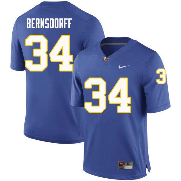 Men #34 Mark Bernsdorff Pittsburgh Panthers College Football Jerseys Sale-Royal