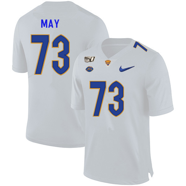 2019 Men #73 Mark May Pitt Panthers College Football Jerseys Sale-White