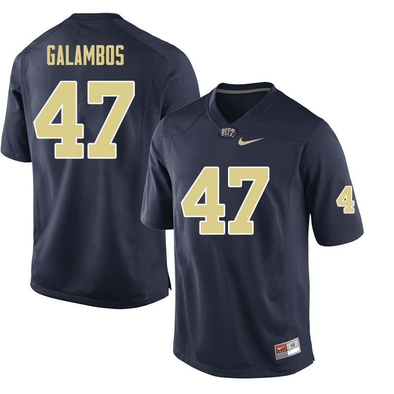 Men #47 Matt Galambos Pittsburgh Panthers College Football Jerseys Sale-Navy