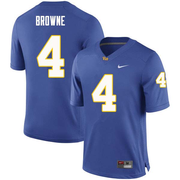 Men #4 Max Browne Pittsburgh Panthers College Football Jerseys Sale-Royal