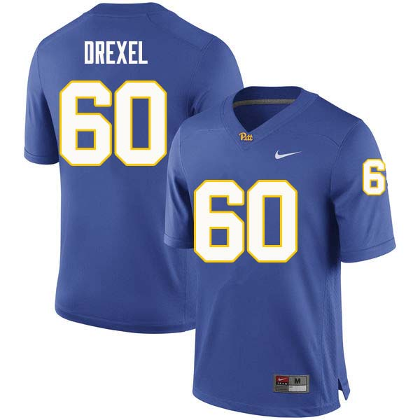 Men #60 Owen Drexel Pittsburgh Panthers College Football Jerseys Sale-Royal