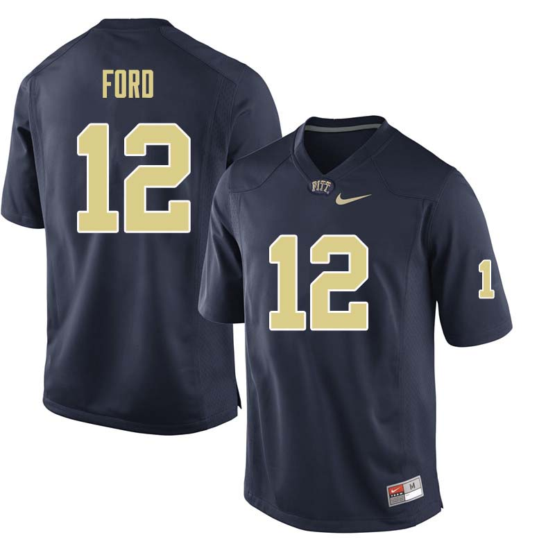 Men #12 Paris Ford Pittsburgh Panthers College Football Jerseys Sale-Navy