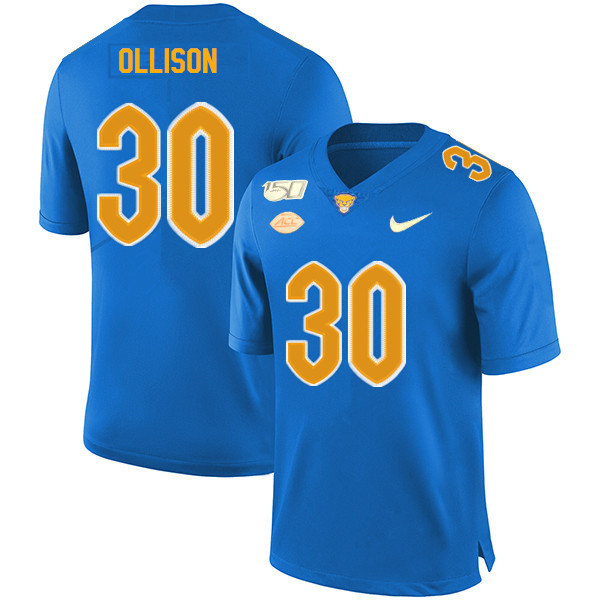 2019 Men #30 Qadree Ollison Pitt Panthers College Football Jerseys Sale-Royal