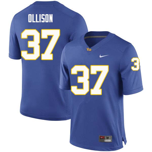Men #37 Qadree Ollison Pittsburgh Panthers College Football Jerseys Sale-Royal