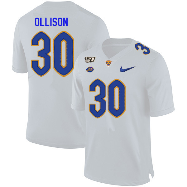 2019 Men #30 Qadree Ollison Pitt Panthers College Football Jerseys Sale-White