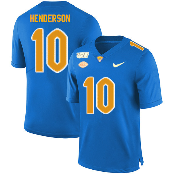 2019 Men #10 Quadree Henderson Pitt Panthers College Football Jerseys Sale-Royal