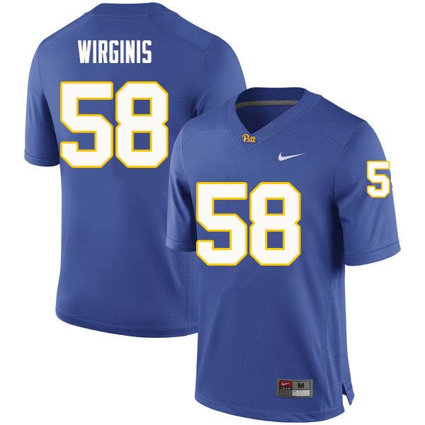 Men #58 Quintin Wirginis Pittsburgh Panthers College Football Jerseys Sale-Royal