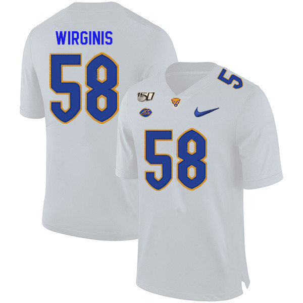 2019 Men #58 Quintin Wirginis Pitt Panthers College Football Jerseys Sale-White