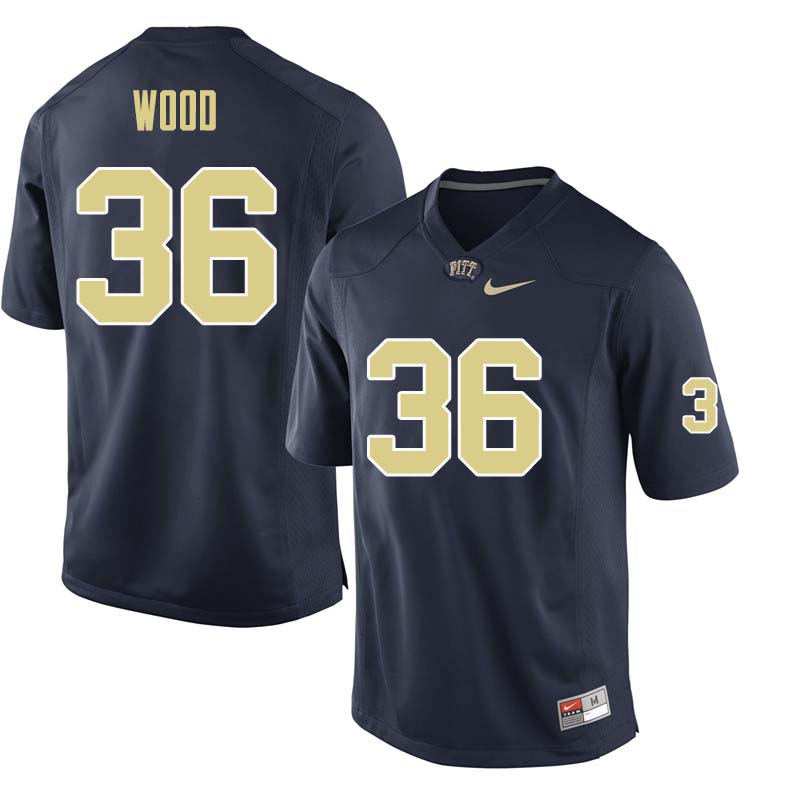 Men #36 Shawn Wood Pittsburgh Panthers College Football Jerseys Sale-Navy