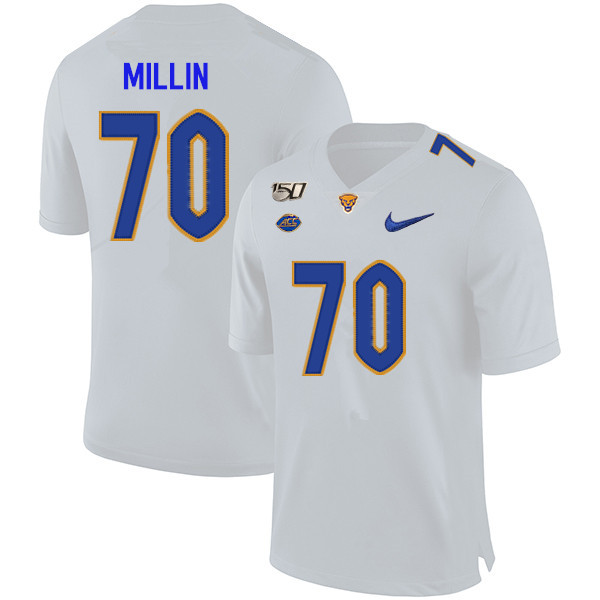2019 Men #70 Stefano Millin Pitt Panthers College Football Jerseys Sale-White