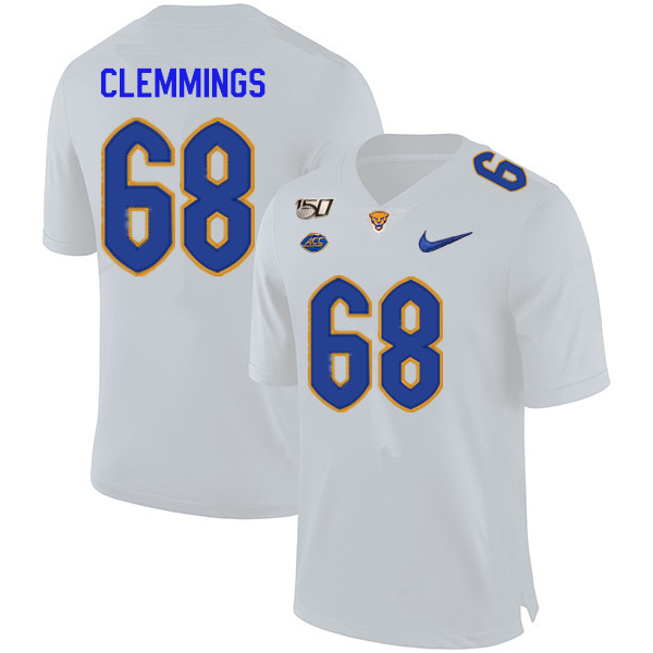 2019 Men #68 T.J. Clemmings Pitt Panthers College Football Jerseys Sale-White