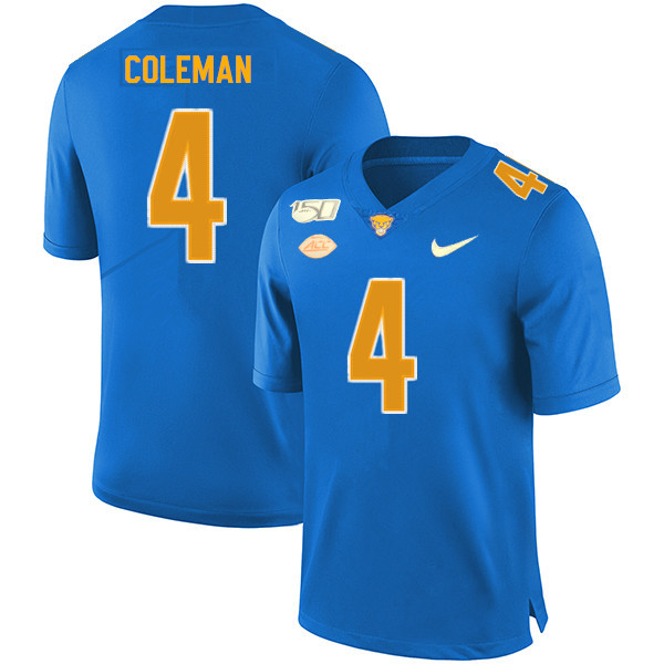 2019 Men #4 Therran Coleman Pitt Panthers College Football Jerseys Sale-Royal