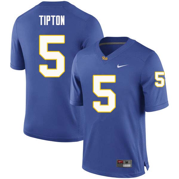 Men #5 Tre Tipton Pittsburgh Panthers College Football Jerseys Sale-Royal