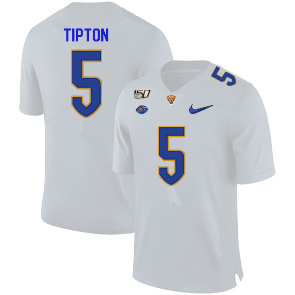 2019 Men #5 Tre Tipton Pitt Panthers College Football Jerseys Sale-White