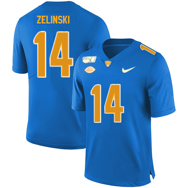 2019 Men #14 Tyler Zelinski Pitt Panthers College Football Jerseys Sale-Royal