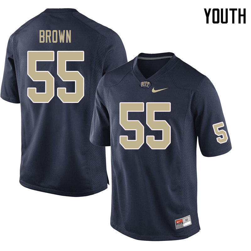Youth #55 Chase Brown Pittsburgh Panthers College Football Jerseys Sale-Navy