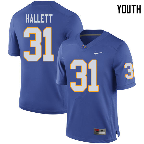 Youth #31 Erick Hallett Pittsburgh Panthers College Football Jerseys Sale-Royal