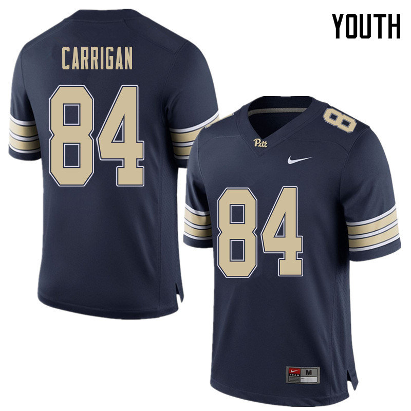 Youth #84 Grant Carrigan Pittsburgh Panthers College Football Jerseys Sale-Home Blue