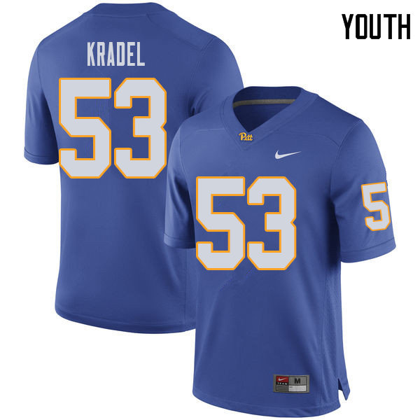 Youth #53 Jake Kradel Pittsburgh Panthers College Football Jerseys Sale-Royal