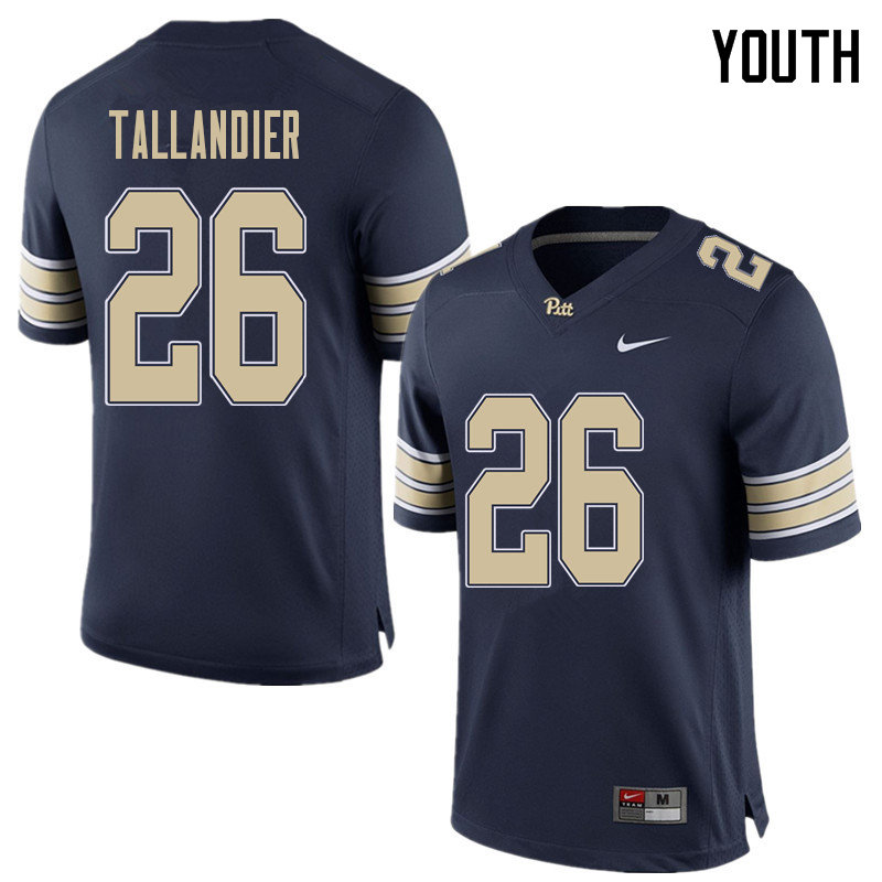 Youth #26 Judson Tallandier Pittsburgh Panthers College Football Jerseys Sale-Home Blue