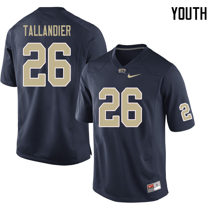 Youth #26 Judson Tallandier Pittsburgh Panthers College Football Jerseys Sale-Navy