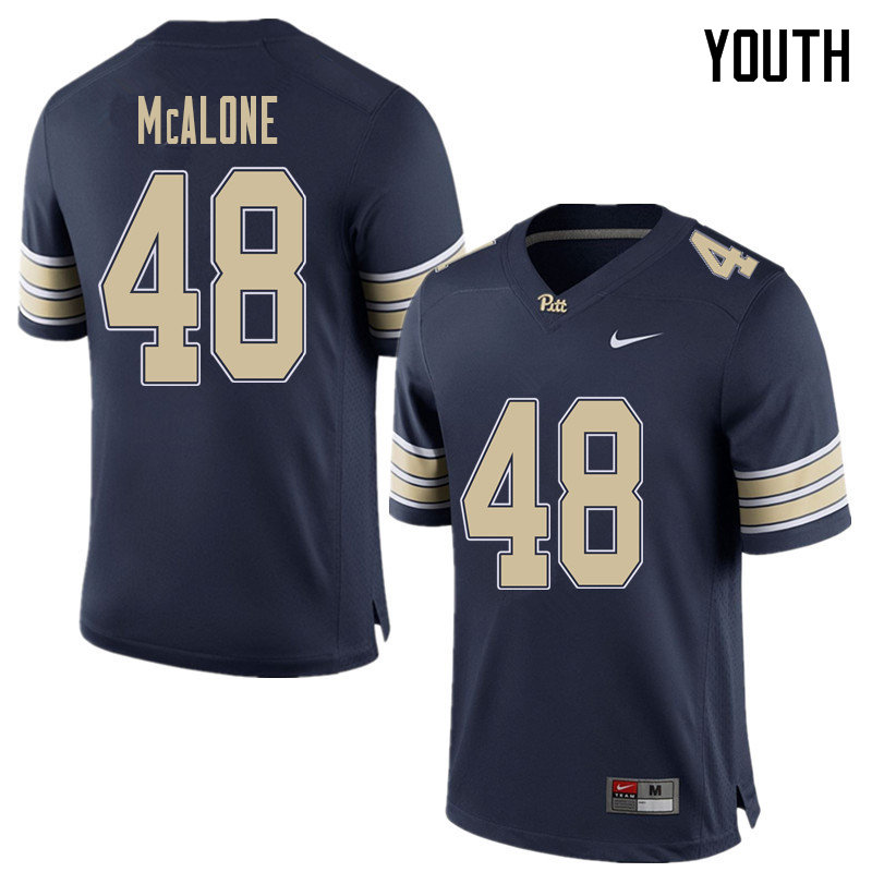 Youth #48 Kellen McAlone Pittsburgh Panthers College Football Jerseys Sale-Home Blue