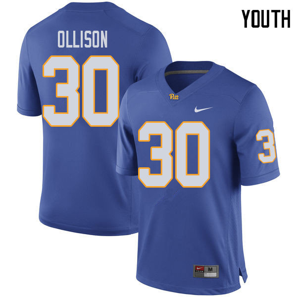 Youth #30 Qadree Ollison Pittsburgh Panthers College Football Jerseys Sale-Royal