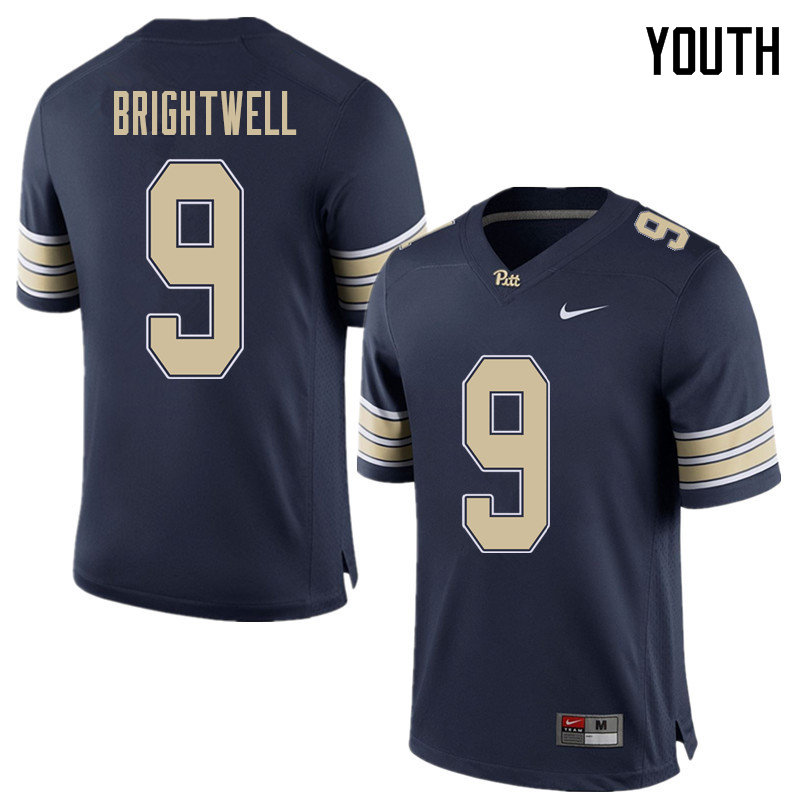 Youth #9 Saleem Brightwell Pittsburgh Panthers College Football Jerseys Sale-Home Blue