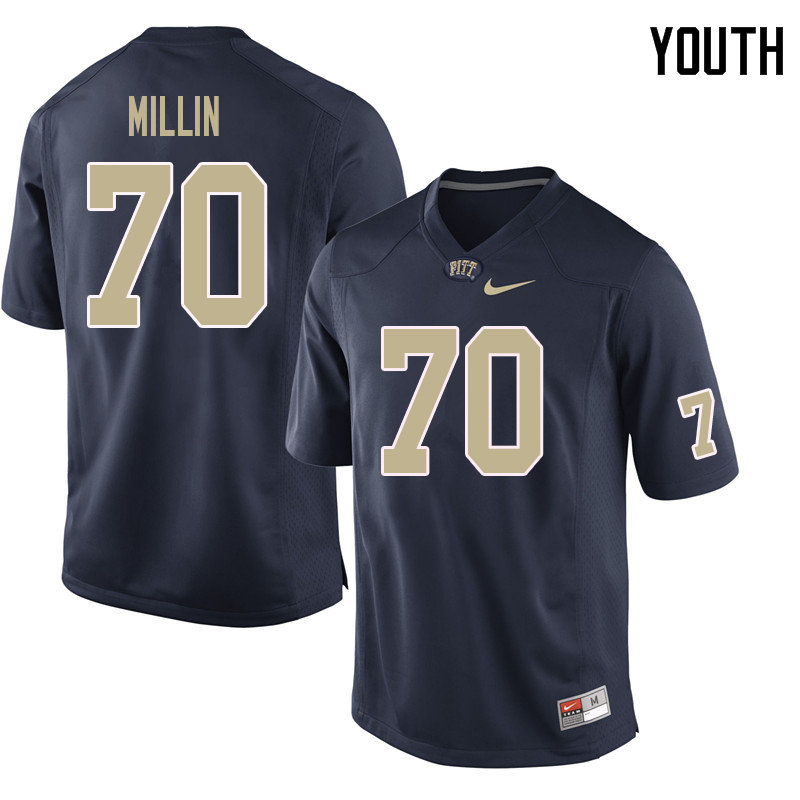 Youth #70 Stefano Millin Pittsburgh Panthers College Football Jerseys Sale-Navy