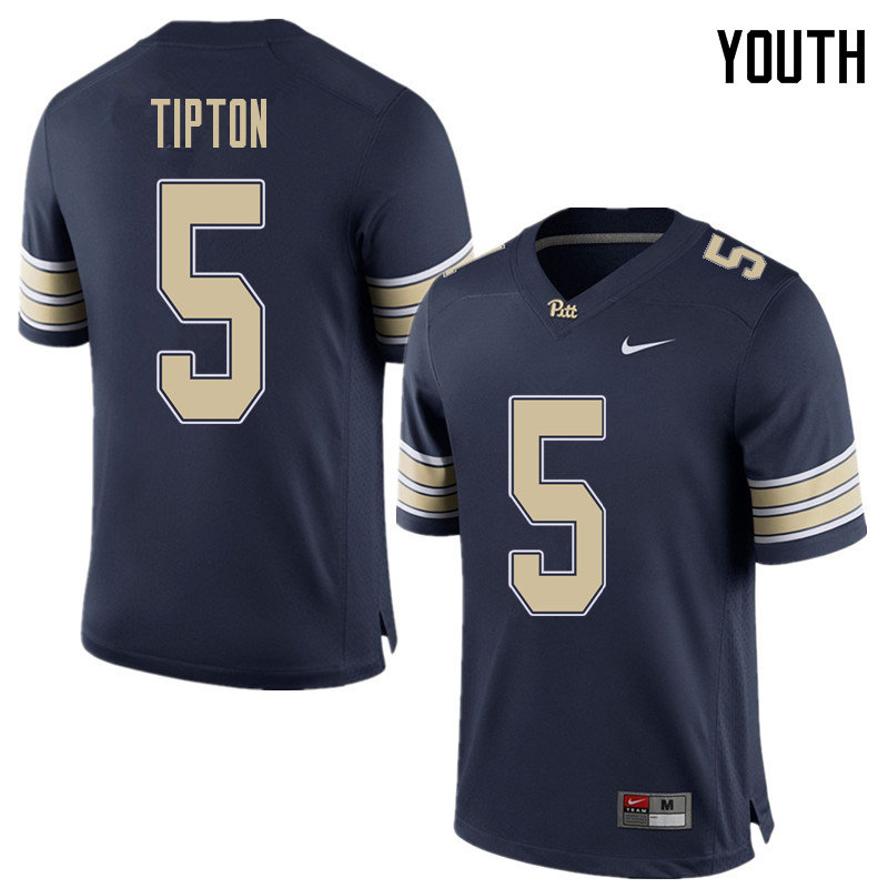 Youth #5 Tre Tipton Pittsburgh Panthers College Football Jerseys Sale-Home Blue