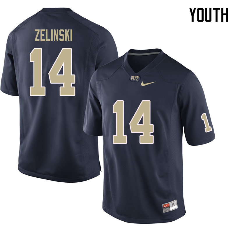 Youth #14 Tyler Zelinski Pittsburgh Panthers College Football Jerseys Sale-Navy