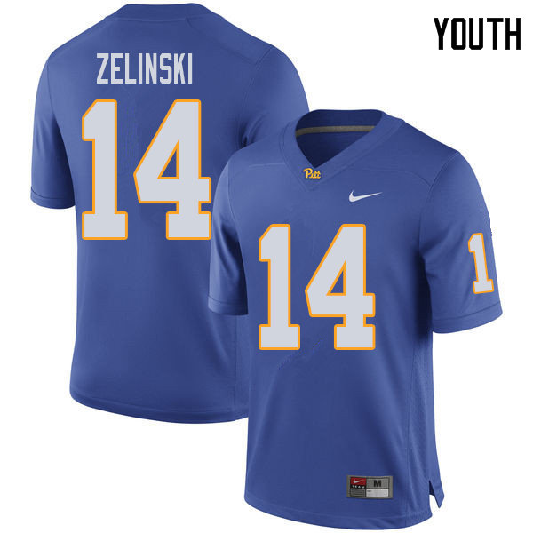 Youth #14 Tyler Zelinski Pittsburgh Panthers College Football Jerseys Sale-Royal