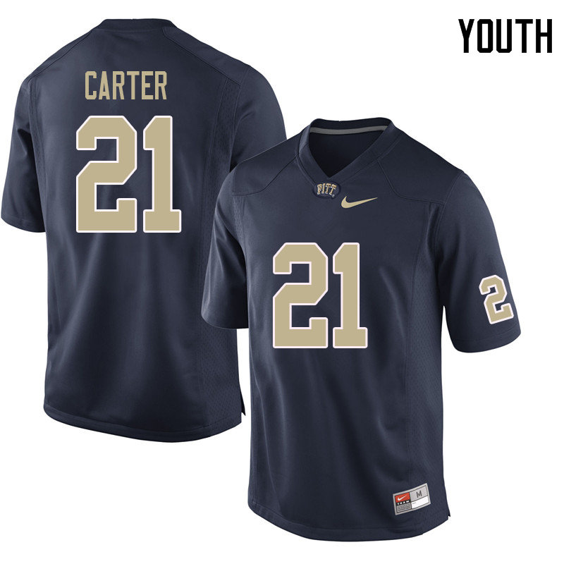 Youth #21 V'Lique Carter Pittsburgh Panthers College Football Jerseys Sale-Navy