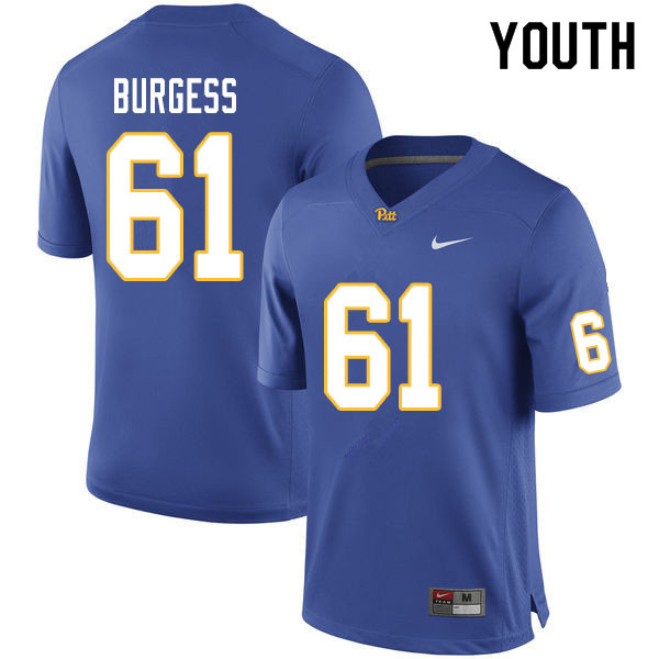 Youth #61 Brian Burgess Pitt Panthers College Football Jerseys Sale-Royal