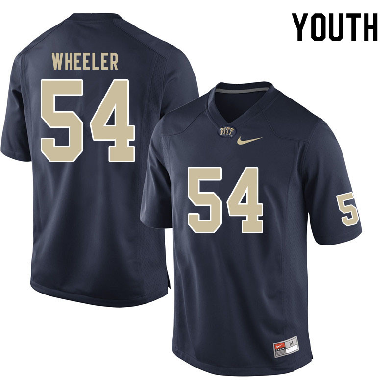 Youth #54 Rashad Wheeler Pitt Panthers College Football Jerseys Sale-Navy