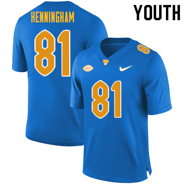 Youth #81 Aydin Henningham Pitt Panthers College Football Jerseys Sale-Royal