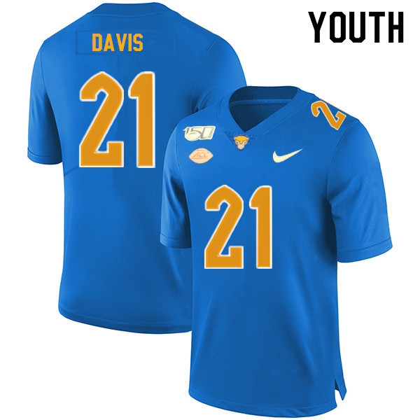 2019 Youth #21 A.J. Davis Pitt Panthers College Football Jerseys Sale-Royal