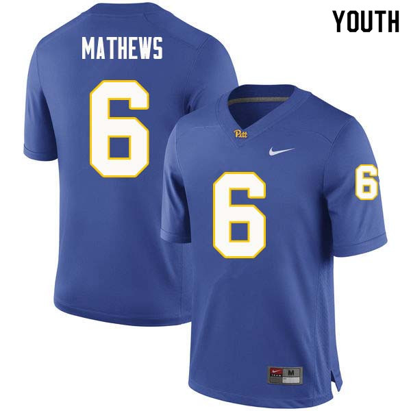 Youth #6 Aaron Mathews Pittsburgh Panthers College Football Jerseys Sale-Royal