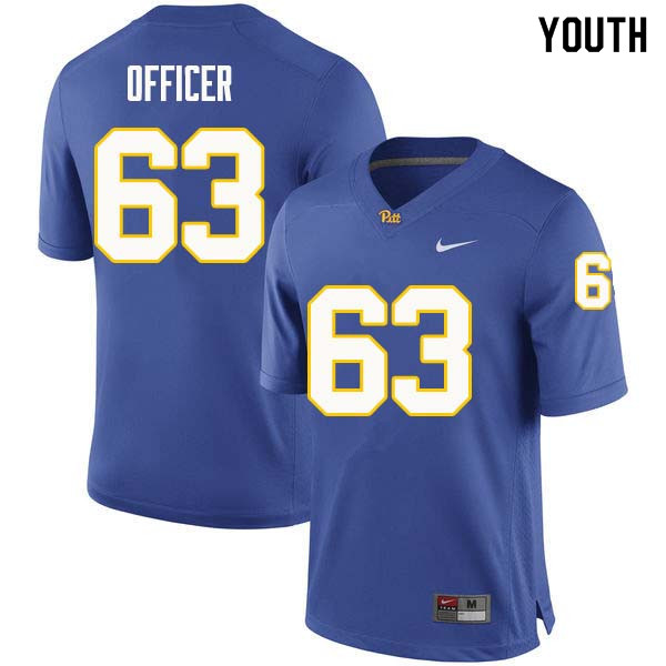 Youth #63 Alex Officer Pittsburgh Panthers College Football Jerseys Sale-Royal