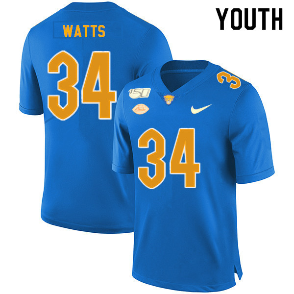 2019 Youth #34 Amir Watts Pitt Panthers College Football Jerseys Sale-Royal