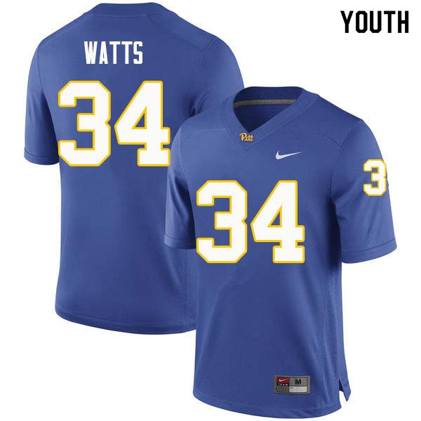 Youth #34 Amir Watts Pittsburgh Panthers College Football Jerseys Sale-Royal