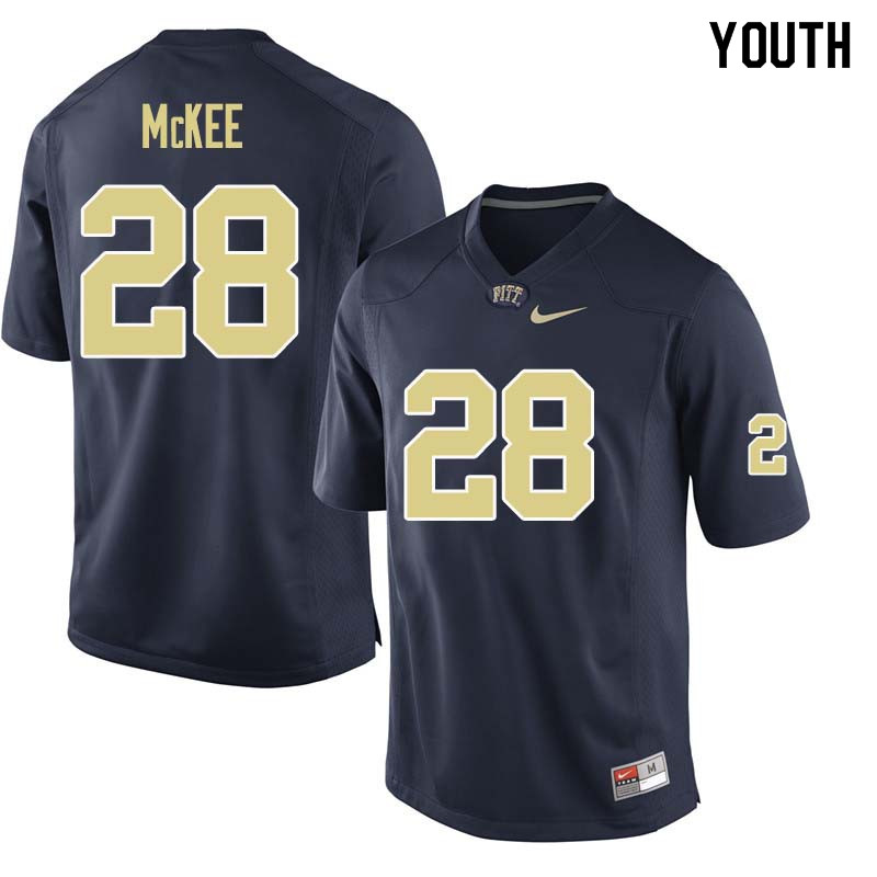 Youth #28 Anthony McKee Pittsburgh Panthers College Football Jerseys Sale-Navy