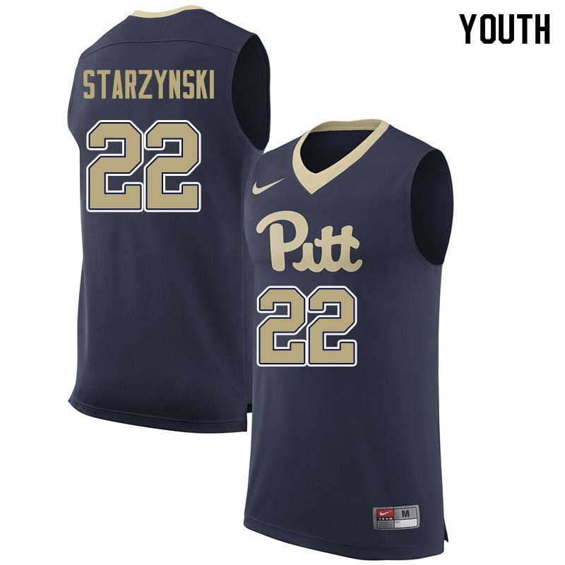 Youth #22 Anthony Starzynski Pittsburgh Panthers College Basketball Jerseys Sale-Navy