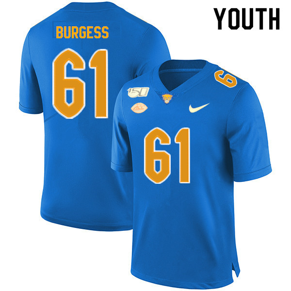 2019 Youth #61 Brian Burgess Pitt Panthers College Football Jerseys Sale-Royal