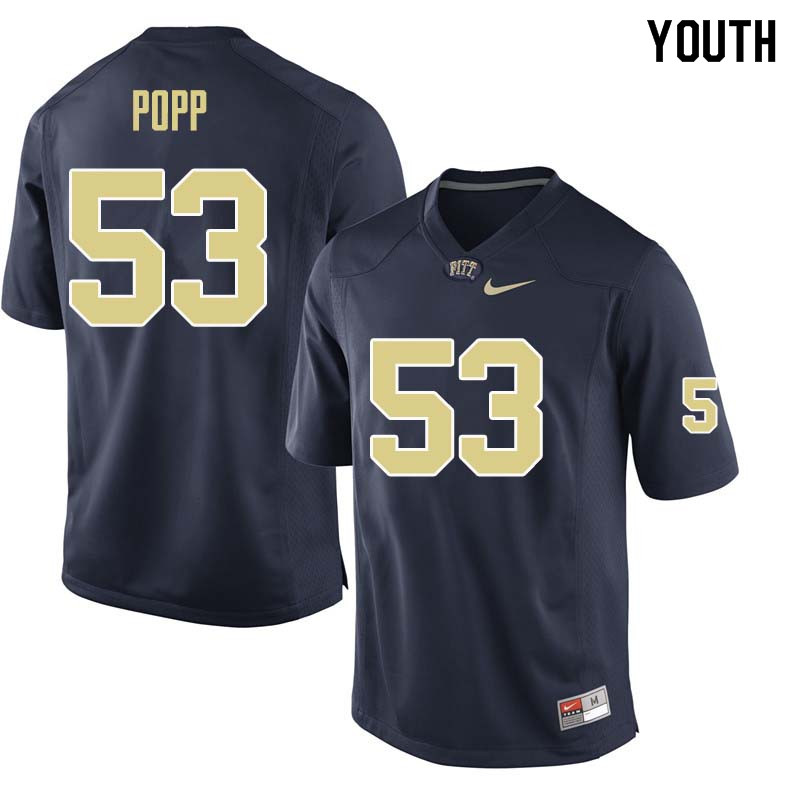 Youth #53 Brian Popp Pittsburgh Panthers College Football Jerseys Sale-Navy
